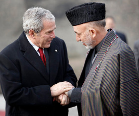 George W. Bush and Hamid Karzai